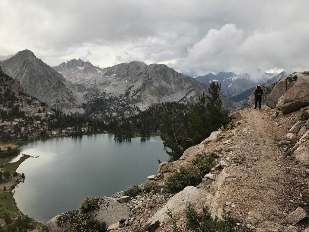 On the other side of Kearsarge Pass, in Kings Canyon National Park, heading towards the JMT