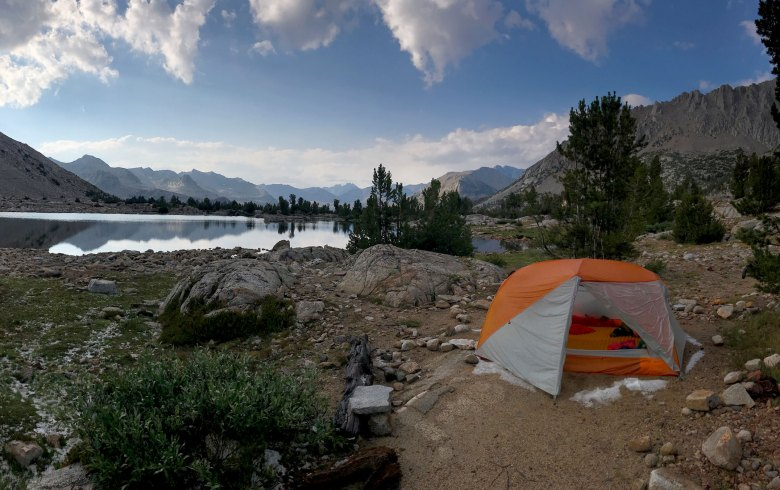 The sun sets after a storm on Marjorie Lake during our John Muir Trail (JMT) hike
