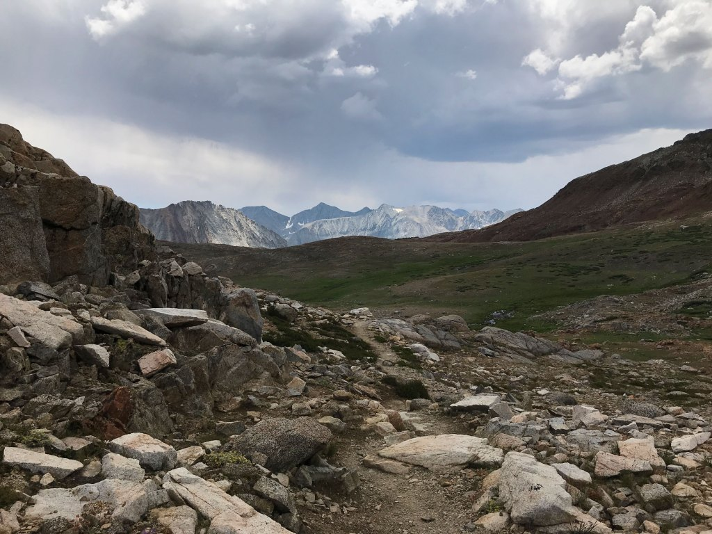 A storm bears down on us as we make our way up to Pinchot Pass