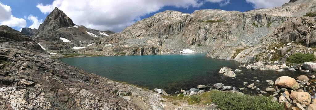 One of the many aquamarine lakes on the way up to Muir Pass.