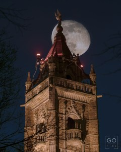 The Moon behind the Cabot Tower