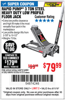 Harbor Freight Low Profile Jack Coupon : harbor, freight, profile, coupon, 3-Ton, Steel, Profile, Floor, .99, Harbor, Freight, Coupons