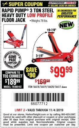 Harbor Freight Low Profile Jack Coupon : harbor, freight, profile, coupon, Pittsburgh, Rapid, 3-Ton, Low-Profile, Floor, .99, Harbor, Freight, Coupons