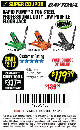 Harbor Freight Low Profile Jack Coupon : harbor, freight, profile, coupon, 3-Ton, Floor, Rapid, Technology, 9.99, Harbor, Freight, Coupons