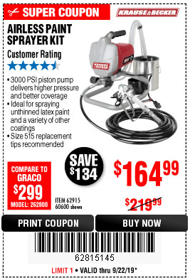 Krause And Becker Airless Sprayer : krause, becker, airless, sprayer, Krause, Becker, Airless, Paint, Sprayer, 4.99, Harbor, Freight, Coupons