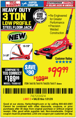 Harbor Freight Low Profile Jack Coupon : harbor, freight, profile, coupon, PITTSBURGH, AUTOMOTIVE, Profile, Steel, Heavy, Floor, Rapid, .99, Through, 1/31/2020, Harbor, Freight, Coupons
