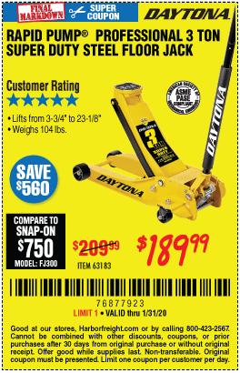 Daytona 3 Ton Low Profile Jack Coupon : daytona, profile, coupon, DAYTONA, Profile, Super, Rapid, Floor, 9.99, Through, 1/31/2020, Harbor, Freight, Coupons