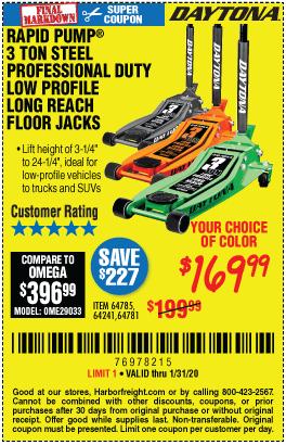 3 Ton Capacity Low Profile Floor Jack