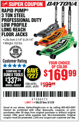 Harbor Freight Low Profile Jack Coupon : harbor, freight, profile, coupon, DAYTONA, Reach, Profile, Professional, Rapid, Floor, 9.99, Harbor, Freight, Coupons