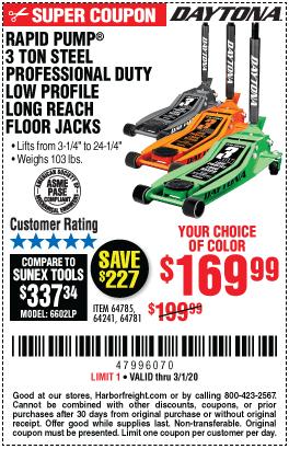 Daytona 3 Ton Low Profile Jack Coupon : daytona, profile, coupon, DAYTONA, Reach, Profile, Professional, Rapid, Floor, 9.99, Harbor, Freight, Coupons