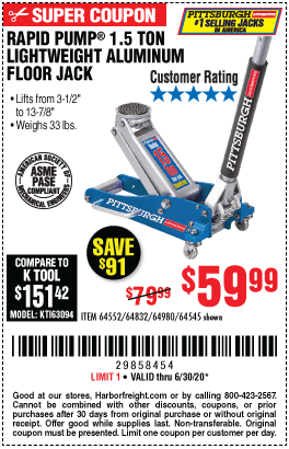 Harbor Freight Low Profile Jack Coupon : harbor, freight, profile, coupon, PITTSBURGH, Aluminum, Rapid, Racing, Floor, .99, Harbor, Freight, Coupons
