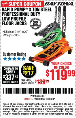 Daytona 3 Ton Low Profile Jack Coupon : daytona, profile, coupon, DAYTONA, Profile, Steel, Professional, Floor, Rapid, 9.99, Harbor, Freight, Coupons