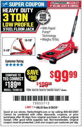 Harbor Freight Low Profile Jack Coupon : harbor, freight, profile, coupon, PITTSBURGH, AUTOMOTIVE, Profile, Steel, Heavy, Floor, Rapid, .99, Harbor, Freight, Coupons