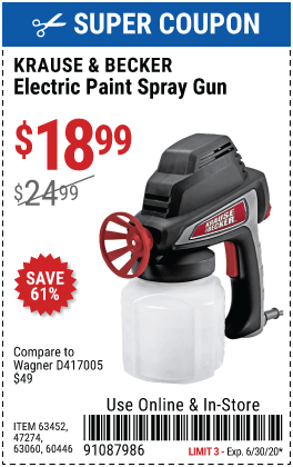 Krause And Becker Airless Sprayer : krause, becker, airless, sprayer, KRAUSE, BECKER, Electric, Paint, Spray, .99, Harbor, Freight, Coupons