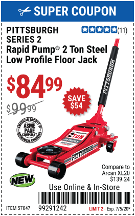 Harbor Freight Low Profile Jack Coupon : harbor, freight, profile, coupon, PITTSBURGH, Profile, Rapid, Pump®, Floor, .99, Harbor, Freight, Coupons