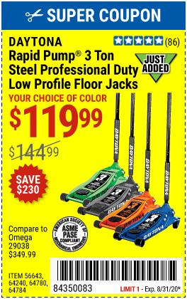 Daytona 3 Ton Low Profile Jack Coupon : daytona, profile, coupon, DAYTONA, Profile, Professional, Rapid, Pump®, Floor, 9.99, Harbor, Freight, Coupons