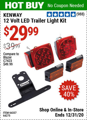 kenway 12 volt led trailer light kit