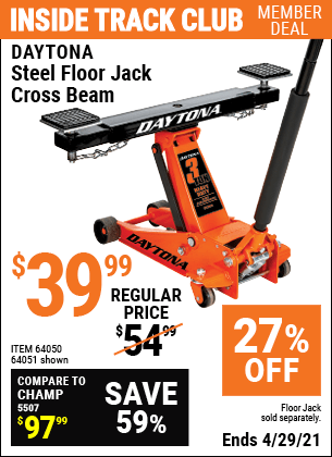 Steel Floor Jack Cross Beam : steel, floor, cross, DAYTONA, Steel, Floor, Cross, .99, Harbor, Freight, Coupons
