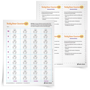Teddy Bear Counters Picture Graph Worksheets K–3