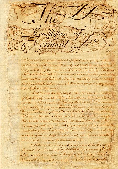 Vermont State Constitution, circa 1777.
