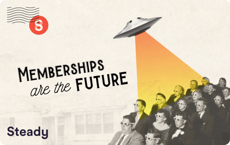 "Vintage-style postcard reading ""Memberships are the Future""."