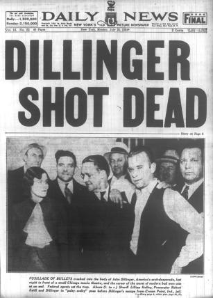 Image result for robber john   dillinger is shot dead