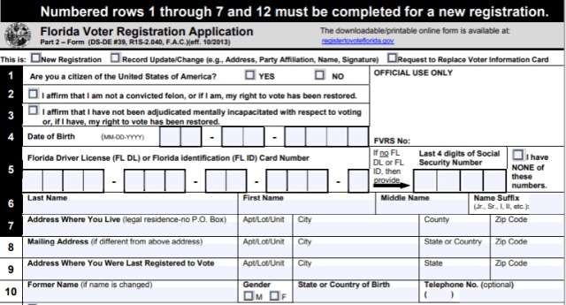 Florida Voter Registration Application