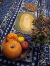 bowls for fruits and bread, Philippine and Pakistani basket mats for hot dishes.
