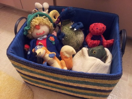 this colorful basket box was filled with stuffed toys and baby clothes given as gift when my son was born.