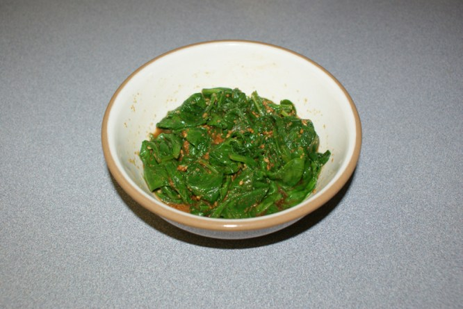 6 oz Spinach with Roasted Sesame = 90 cal