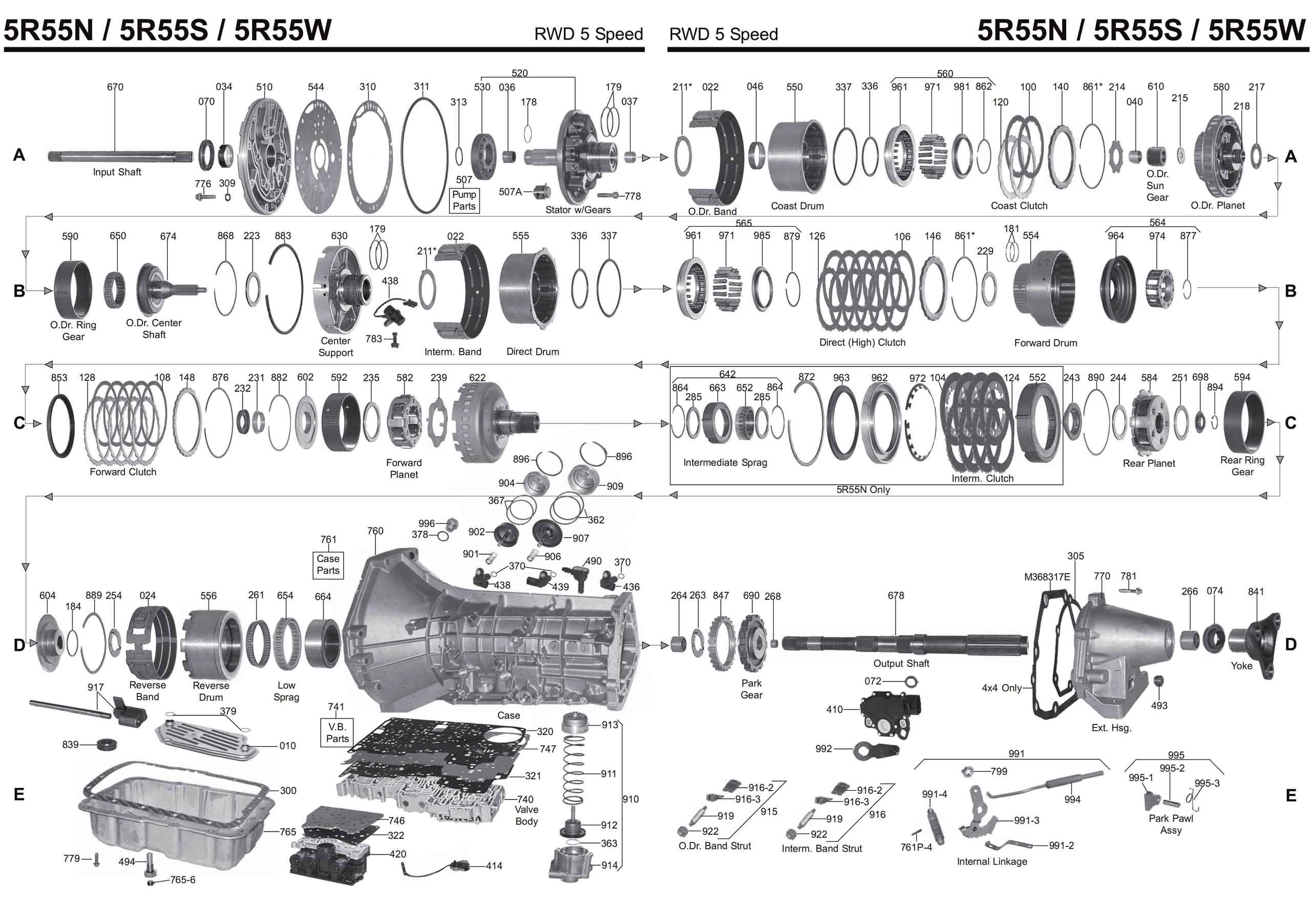 5R55S Transmission parts, repair guidelines, problems, manuals