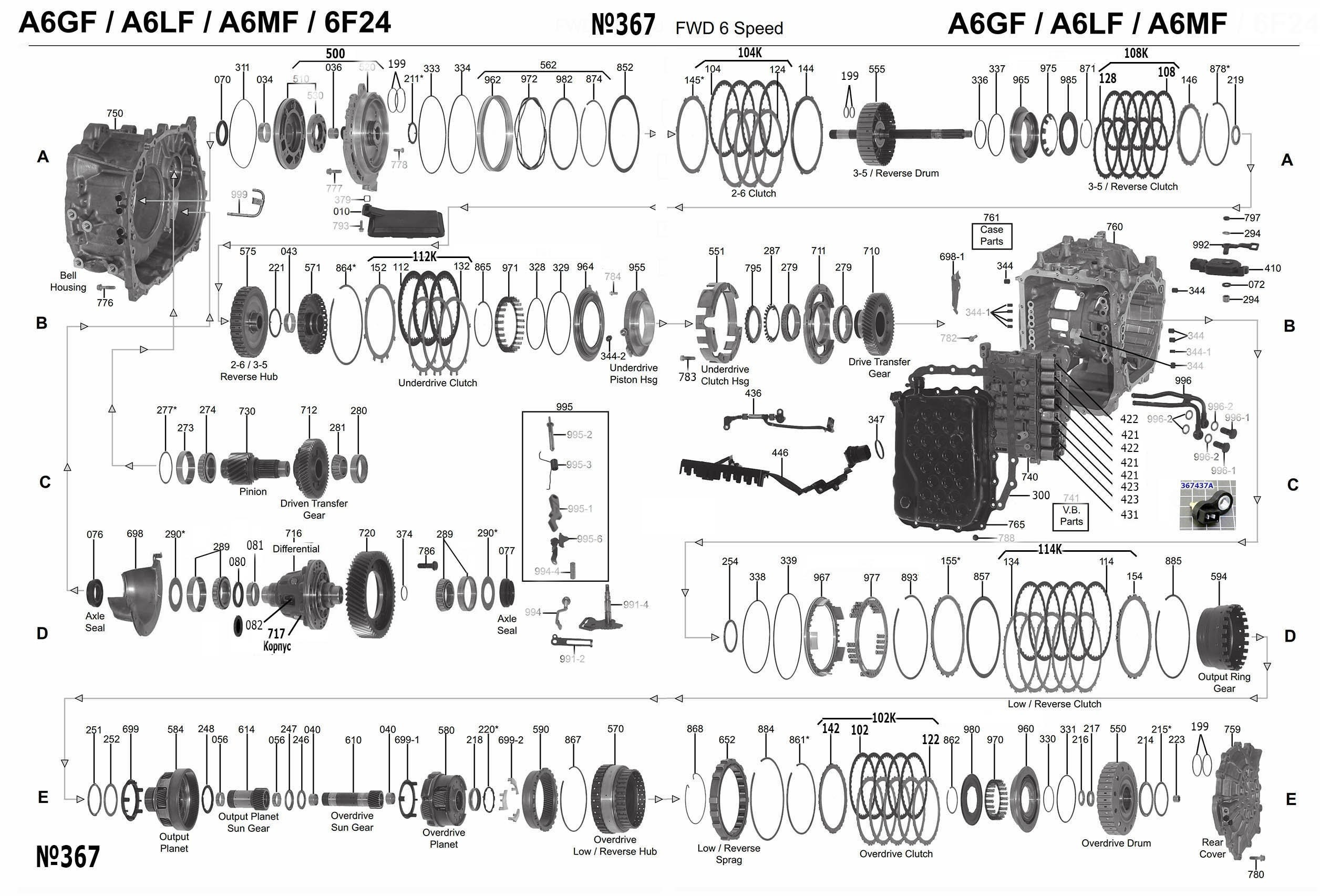 A6LF1 Transmission parts, repair guidelines, problems, manuals
