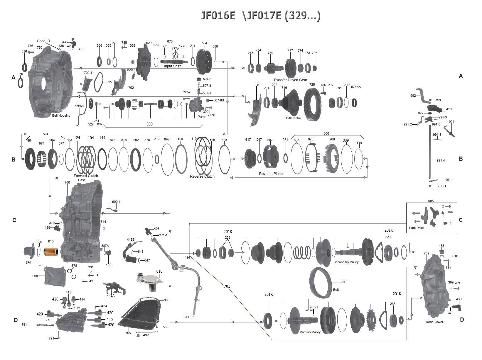 JF018E Transmission parts, repair guidelines, problems