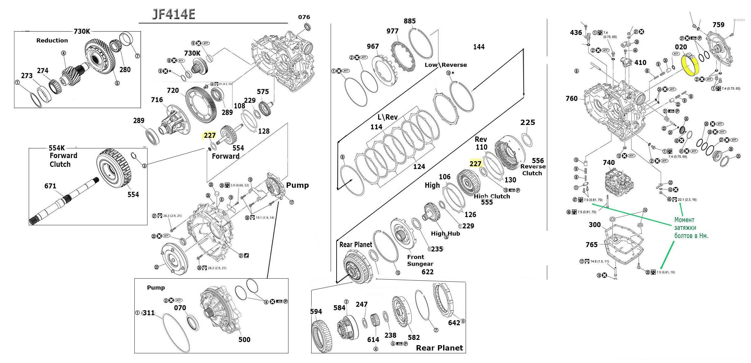 JF414E Transmission parts, repair guidelines, problems