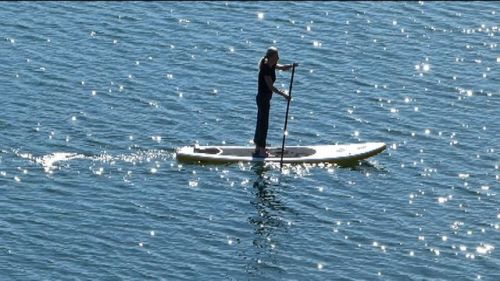 C4 10-9 XXL inflatable SUP on the water