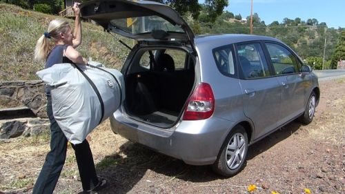 The Chinook Tandem easily fits in the trunk of a car.