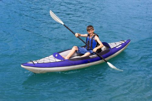 Aquaglide Columbia One HB inflatable kayak is perfect for many sizes.