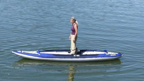 The Columbia Tandem inflatable kayak is quite stable and rigide.