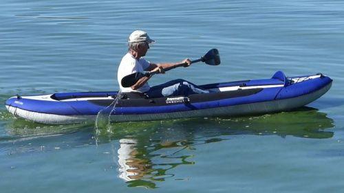 Deschutes Tandem inflatable kayak paddled solo.