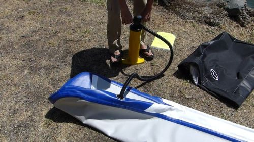 Pumping up the Airis Stubby 9 inflatable SUP.