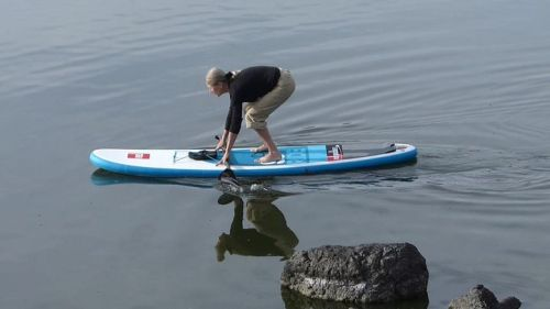Standing up on a Red Air 9-8 inflatable SUP