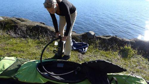Pumping up the Innova Swing EX kayak