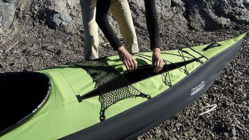 Gear can be carried inside the kayak.