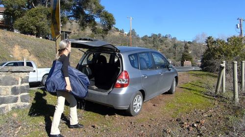 The Innova Swing EX easily fits in the trunk of a small car.