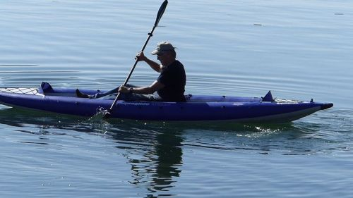 AquaGlide Chelan HB Tandem XL Inflatable Kayak paddled solo