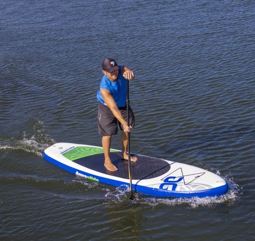 AquaGlide Cascade 11-0 inflatable SUP on the water.