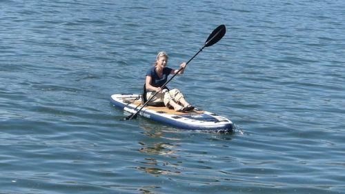 Using the Blackfoot Angler as a sit-on-top kayak.