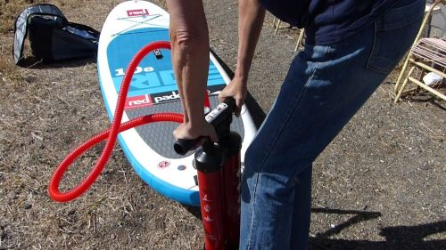 Pumping up the Ride 10-6 Inflatable Paddle Board