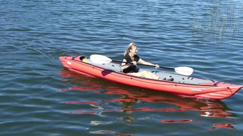 Innova Seawave inflatable kayak paddled solo.