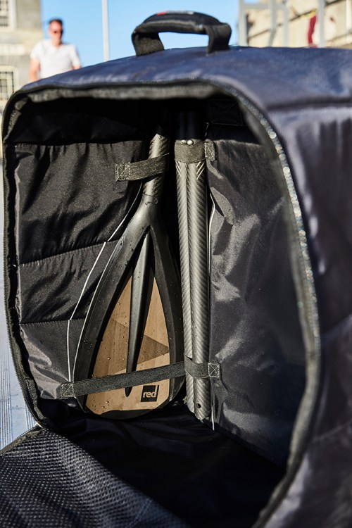 Compact paddle inside the backpack